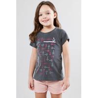 Camiseta Infantil Chocalhos Reserva Mini Feminina - Feminino-Chumbo