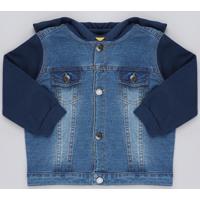 Jaqueta Jeans Infantil Com Capuz Em Moletom Azul Escuro