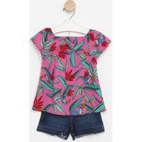 Conjunto De Blusa Floral + Short Jeans- Rosa & Azul-Pequena Mania