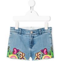 Stella Mccartney Kids Short Jeans X The Beatles Com Bordado - Azul