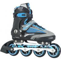 Patins Bel Fix Rollers Future 7000 - In Line - Fitness - Base De Alumínio - Adulto - Azul/Preto