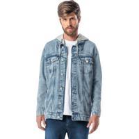 Jaqueta Azul Claro Jeans Com Capuz