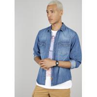 44c8859504 CEA; Camisa Jeans Masculina Com Bolsos Manga Longa Azul Médio