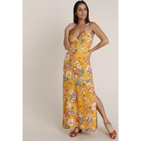 Vestido Feminino Longo Estampado Floral Com Fenda Alça Fina Decote V Amarelo