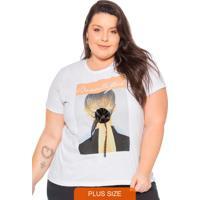 T-Shirt Estampada E Aplique De Flor 3D Branco