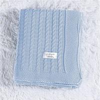 Manta Bebê Azul Tricot Ponto Trança 80Cm Grão De Gente Azul