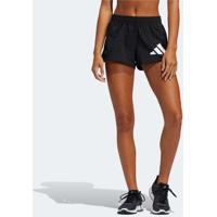 Short Adidas Pacer Logo Feminino Preto