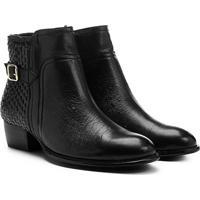 e0ecf195ac ... Bota Couro Cano Curto Shoestock Flat Tressê Feminina - Feminino-Preto