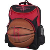 Mochila Nba Houston Rockets 3D Bola - Infantil - Preto/Vermelho