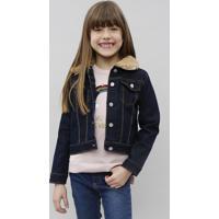 Jaqueta Jeans Infantil Com Pelo Removível Azul Escuro
