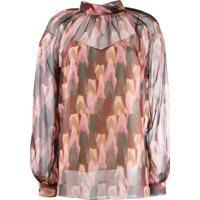 Mulberry Blusa Com Padronagem E Transparência - Rosa
