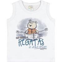 Camiseta Regata Infantil Pulla Bulla Meia Malha Masculino - Masculino-Branco