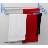 Varal Sanfona- Prateado & Azul- 19,5X80X44,5Cm- Metaltru