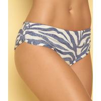 Calcinha Hot Pant Animal Print- Off White & Azul Marinhor. Do Sol