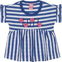 Blusa Listrada Com Pom Pom - Azul & Branca- Bitokinhbitokinha