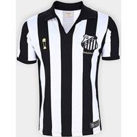 Camisa Santos 1963 Bi Mundial Listrada Retrô Mania Masculina - Masculino