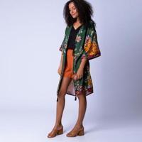 Blusa Kimono Mercatto Jaguar Feminina - Feminino-Verde Escuro+Marinho