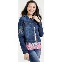 Jaqueta Juvenil Jeans Bordado Floral Marisa