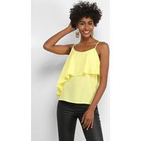 Blusa Lily Fashion Open Shouder Babado Feminina - Feminino-Amarelo