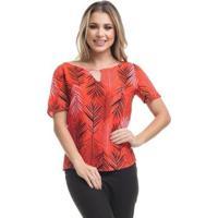 Blusa Clara Arruda Decote Costas Estampada Feminina - Feminino-Vermelho