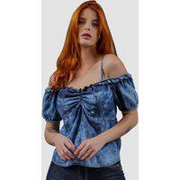 Blusa Jeans Zayon Ombro A Ombro Azul