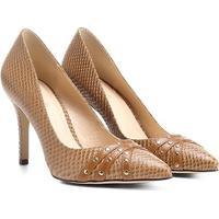 Scarpin Couro Shoestock Salto Alto Tachas - Feminino-Caramelo