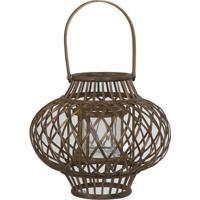 Lanterna Em Bambu Crisscross Com Vidro 22Cm Marrom