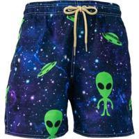 Short Tactel Alien Praiar Masculino - Masculino-Azul+Verde
