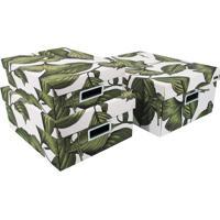 Jogo De Caixas Organizadoras Folhagens- Branca & Verde