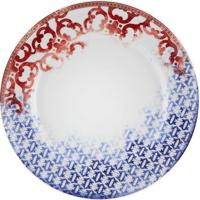 Prato Raso Timeless Porcelana Unidade Branco Vermelho E Azul Vista Alegre Atlantis