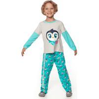Pijama Manga Longa I Love Pinguim Teen 10