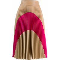 Stella Mccartney Saia Midi Color Block Com Pregas - Marrom