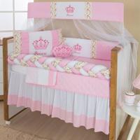 Kit Berço Trança Padroeira Baby Imperial Princesa 10 Peças Rosa