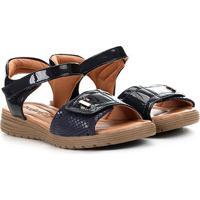 Sandália Comfortflex Papete Velcro Feminina - Feminino-Marinho