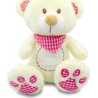Urso De Pelúcia Com Babador Xadrez 35Cm - Rosa - Unik Toys