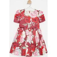 Vestido Floral Com Plissado- Vermelho & Rosa- Luluzimylu