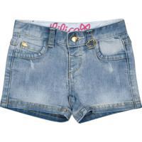 Short Jeans Estonado Com PuãDos - Azul Clarolilica Ripilica E Tigor T. Tigre