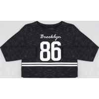 "Blusão Infantil Cropped ""Brooklyn"" Em Moletom Preto"