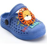 Babuche Plugt Infantil Joy Leãozinho Masculino - Masculino-Azul
