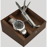 Kit De Relógio Analógico Mondaine Masculino + Canivete - 99351G0Mvne1K Prateado - Único