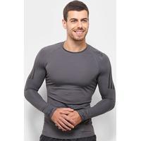 Camiseta Compressão Adidas Sport Alphaskin 3S Manga Longa Masculina - Masculino-Cinza Claro