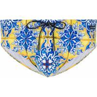Dolce & Gabbana Short De Natação Maiolica Com Estampa - Azul