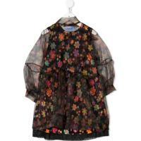 Mi Mi Sol Vestido Com Estampa Floral De Chiffon - Preto