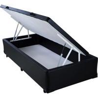 Cama Box Baú Black Em Corino Com Pistão Hidráulico - Solteiro - 088X188