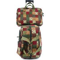 Jogo Malas Giulianna Fiori Travel Set Lily Com Rodas + Capa Para Notebook E Celular Em Patchwork Original