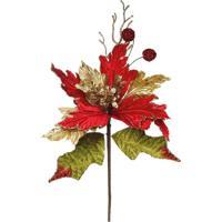 Flor Decoração Natal Poinsetia C/ Glitter Vermelha