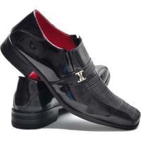 Sapato Social Garra Verniz Confort Masculino - Masculino-Preto