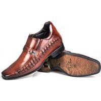 Sapato Social Rafarillo Couro Aumenta Altura Masculino - Masculino-Tabaco