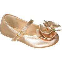 Sapato Boneca Em Couro Metalizada Com Laã§Os - Ouro Velhoprints Kids