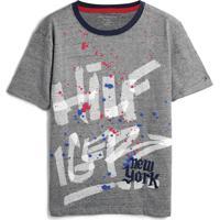 Camiseta Tommy Hilfiger Kids Menino Lettering Cinza